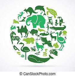 reusachtig, iconen, -, verzameling, groene, dier, wereld