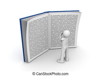 reusachtig, lezende , -, verzameling, boek, opleiding, man