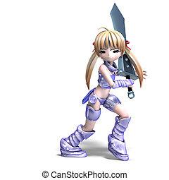 reusachtig, paladin, sword., op, af)knippen, manga, vertolking, vrouwlijk, steegjes, witte , schaduw, 3d