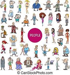 reusachtig, set, spotprent, karakters, mensen