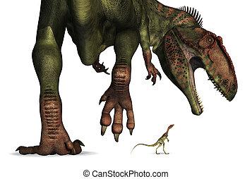 reusachtig, vergelijking, -, minuscuul, dinosaurus, grootte