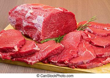 reusachtig, vlees, brok, hout, tafel, biefstuk, rood