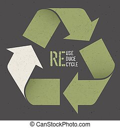 """Reuse conceptual symbol and """"Reuse, Reduce, Recycle"""" text on..."""