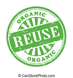illustration of grunge rubber stamp with the text reuse written inside