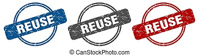 reuse stamp. reuse sign. reuse label set