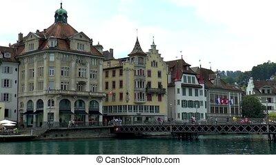 Reuss Bridge and riverfront buildings in Luzern, Lucerne, Switzerland.