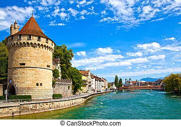 reuss, fiume, in, lucerne, svizzera