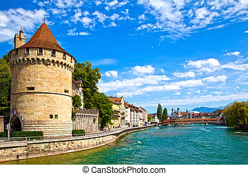 Reuss River in Lucerne, Switzerland