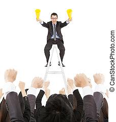 reussite, équipe, célébrer, acclamation, utilisation, homme affaires, porte voix
