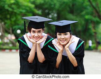 reussite, étudiants, jeune, Diplômé, Femmes, geste, heureux