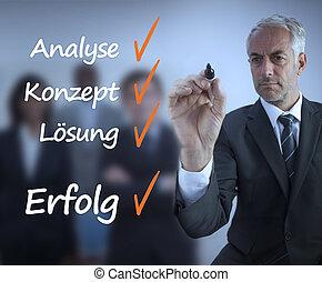 reussite, allemand, écriture, homme affaires, liste contrôle