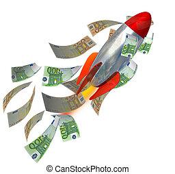 reussite, argent, -, missile, rendre, revenus, investemens, euro, 3d