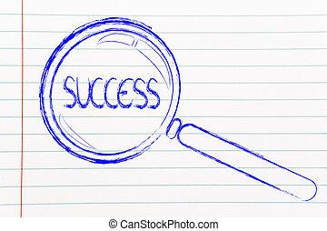 reussite, business, verre, conception, conclusion, magnifier