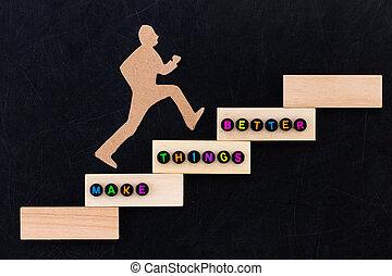 reussite, choses, sur, -, amélioration, mieux, papier, arrière-plan noir, escalade, conceptuel, étapes, concept., image, faire, homme