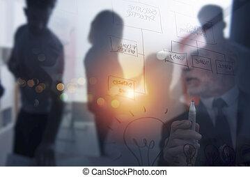 reussite, collaboration, ensemble., travail, concept, professionnels, association