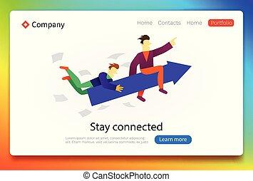 reussite, concept., business., atterrissage, grandir, collaboration, ton, page