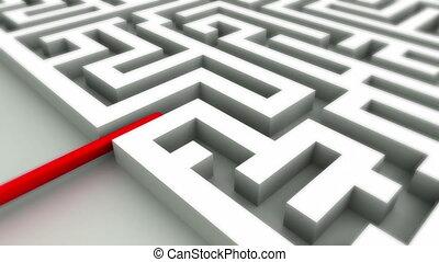 reussite, concept, labyrinthe
