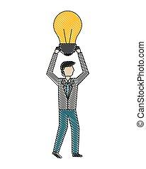 reussite, créativité, idée, tenue, homme affaires, ampoule