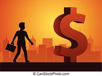 reussite, devant, grand, dollar, illustration, promenade, riche, homme affaires, signe, moyenne