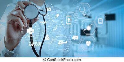 reussite, docteur, room., monde médical, opération, intelligent