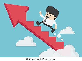 reussite, escalade, homme affaires, jeune, flèche, escalier