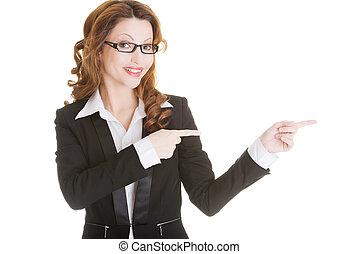 reussite, femme,  Business, pointage, heureux