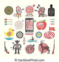 reussite, flèche, ensemble, pomme, business, cible, tir, isolé, illustration, stratégie, but, jeu, vecteur, fond, dards, icône, blanc, sport, cible, ou, but