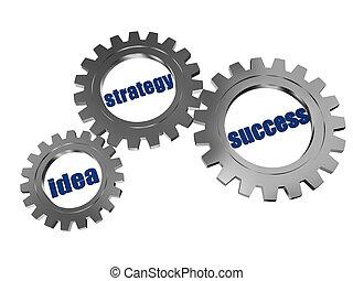 reussite, gearwheels, gris, stratégie, idée, argent