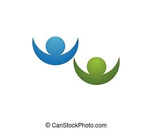 reussite, gens, symboles, santé, gabarit, logo, soin