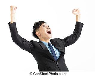 reussite, haut, main, homme affaires, excité, célébration