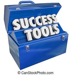 reussite, outils, boîte outils, techniques, accomplir, buts