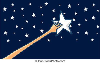 reussite, -, portée, étoiles, horizontal, ou