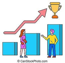 reussite, prix, collaboration, vecteur, tasse, business