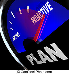reussite, stratégie, réactif, vs, jauge, plan, proactive