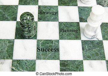 reussite, texte, stratégie, planification, planche, échecs