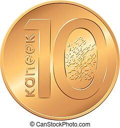 revés, diez, dinero, copecks, belarusian, nuevo, moneda