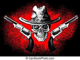 revólver, cráneo