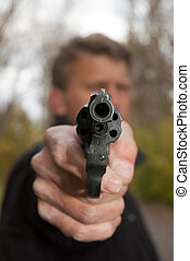revólver, objetivos, homem