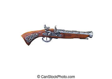 revólver, pasado de moda, marrón