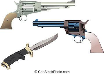 revólveres, y, cuchillo, en, aislado, fondo., vector,...