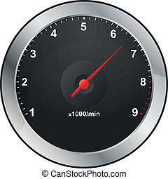 rev counter - illustration of rev counter with red indicator