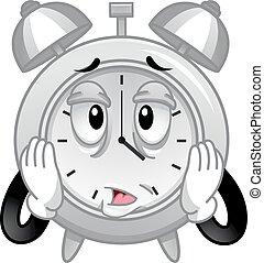 reveil, accentué, fatigué, mascotte, horloge