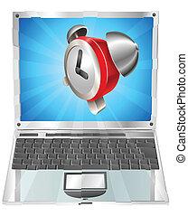 reveil, concept, ordinateur portable, horloge, icône