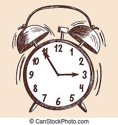 reveil, croquis, horloge