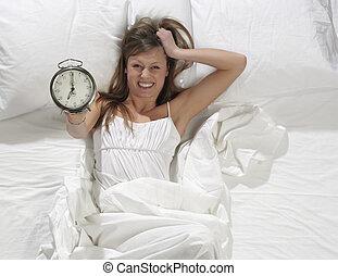 reveil, femme, lit, horloge