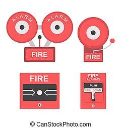 reveil, icône, brûler, plat