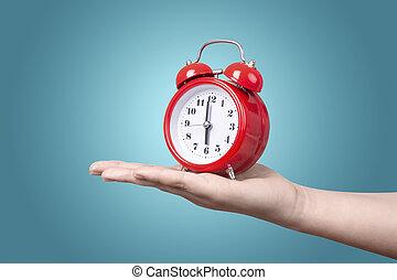 reveil, main, horloge