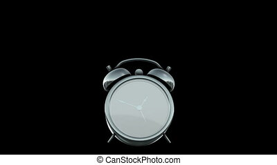 reveil, noir, isolé, fond, horloge