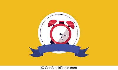 reveil, ruban, horloge, cadre