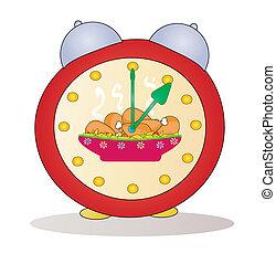 reveil, vecteur, dessin animé, horloge